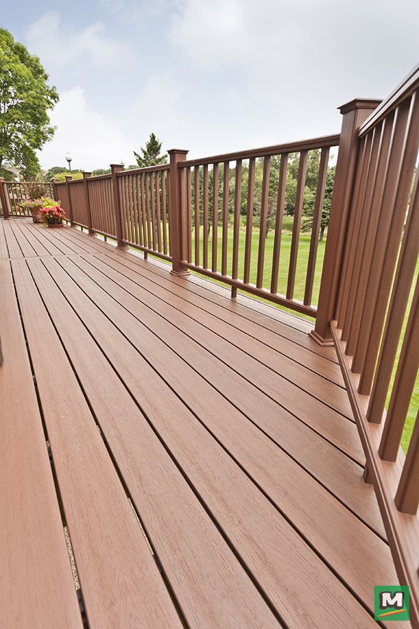 Complete Your Deck Design With Ultradeck Fusion Railing Made Of Polyethylene And Recycled Wood Fibers This Low Maintenanc Pool Landscaping Deck Deck Design