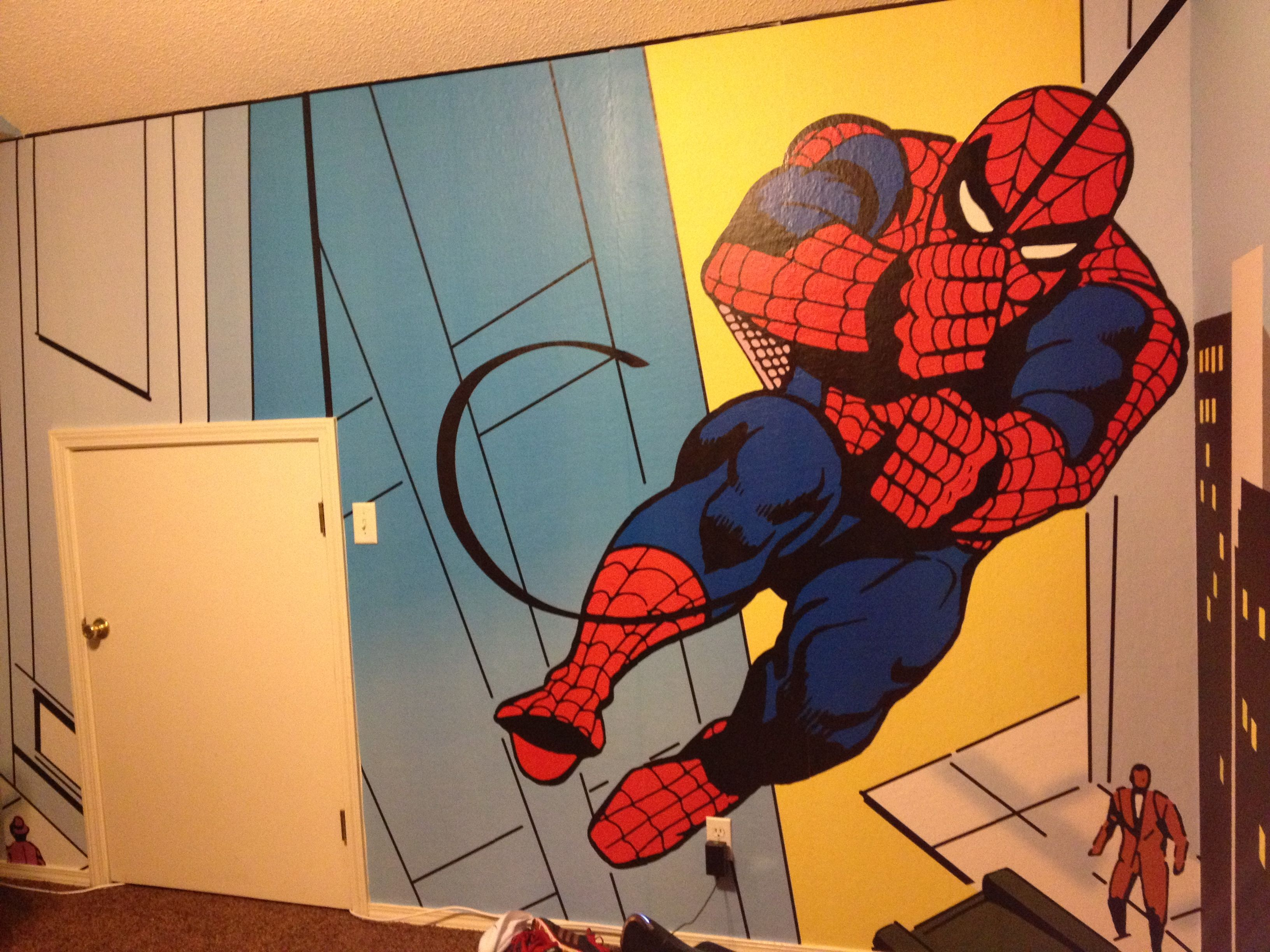 Spiderman Room Pottery Barn Spider Man Wall Mural Ideas For New Super
