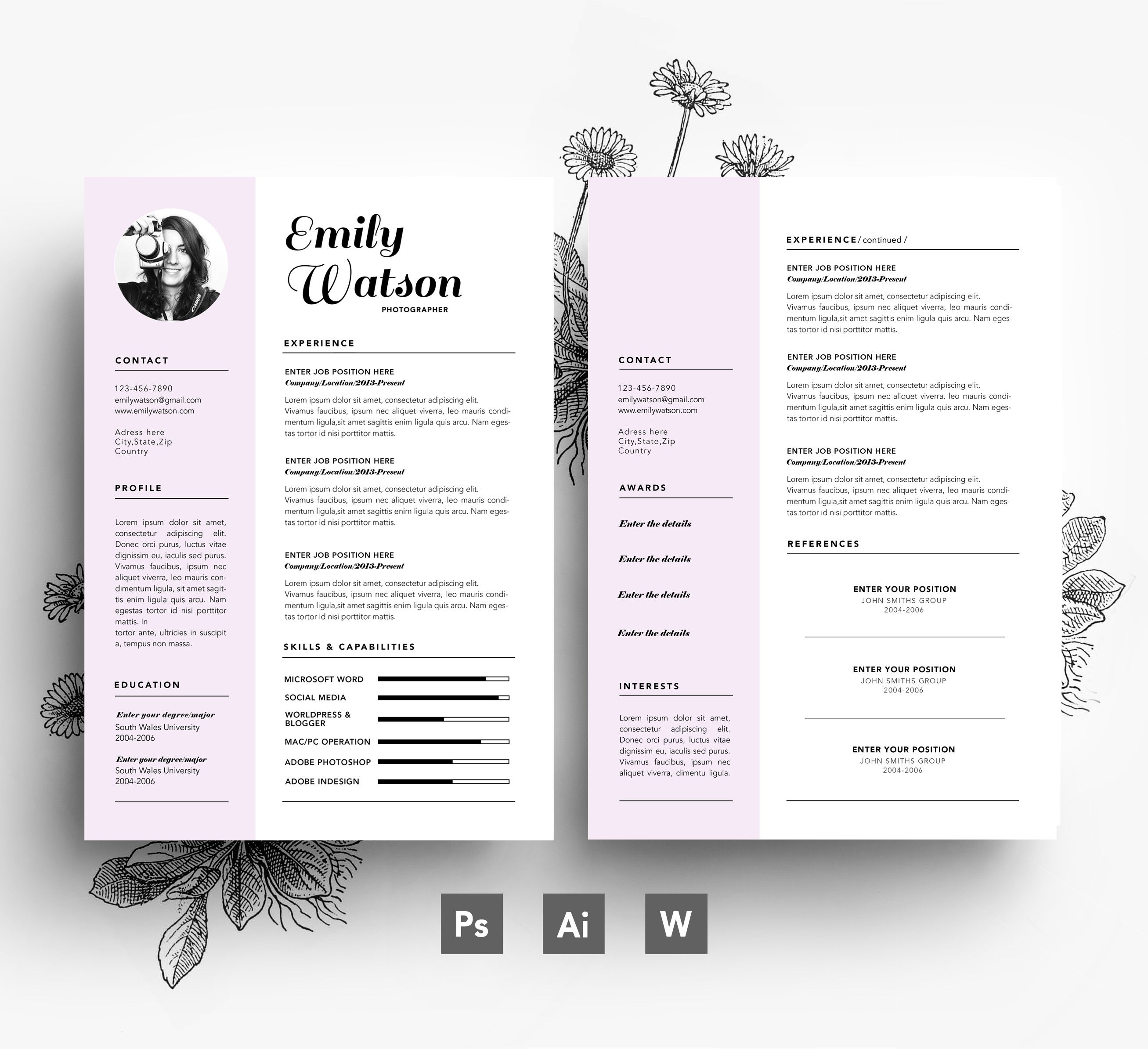Resume/ Custome template/ editable PSD template | Stylish Resumes ...