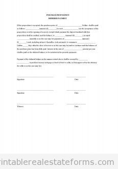 Sample Printable Purchase Proposition Deferred Payment Form