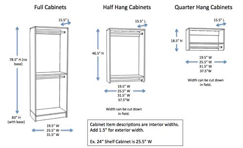 Shelf and drawer depths with storage arrangements. Click