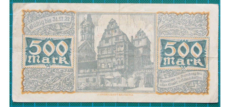 1922 stadt bamberg 500 mark credit note 33124 bamberg