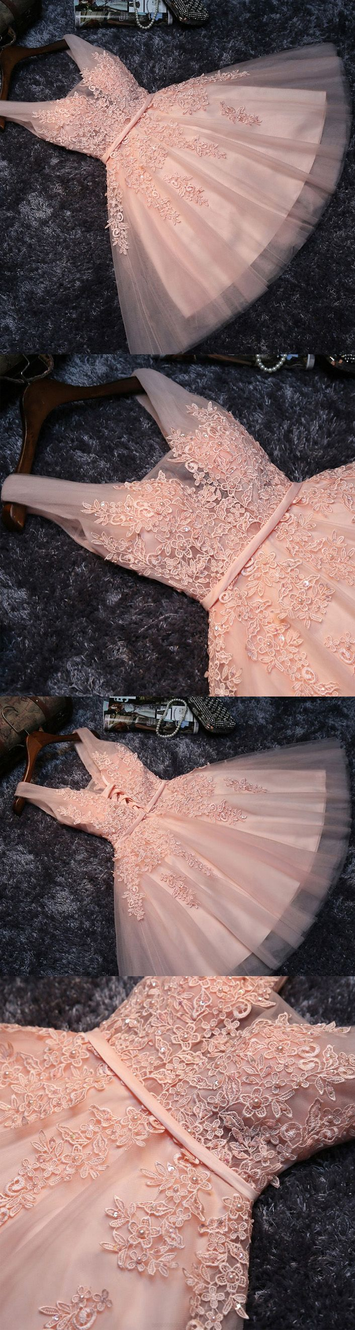 V-Neck Party Dresses, Pink Short Prom Dresses, 2017 Homecoming Dress ...
