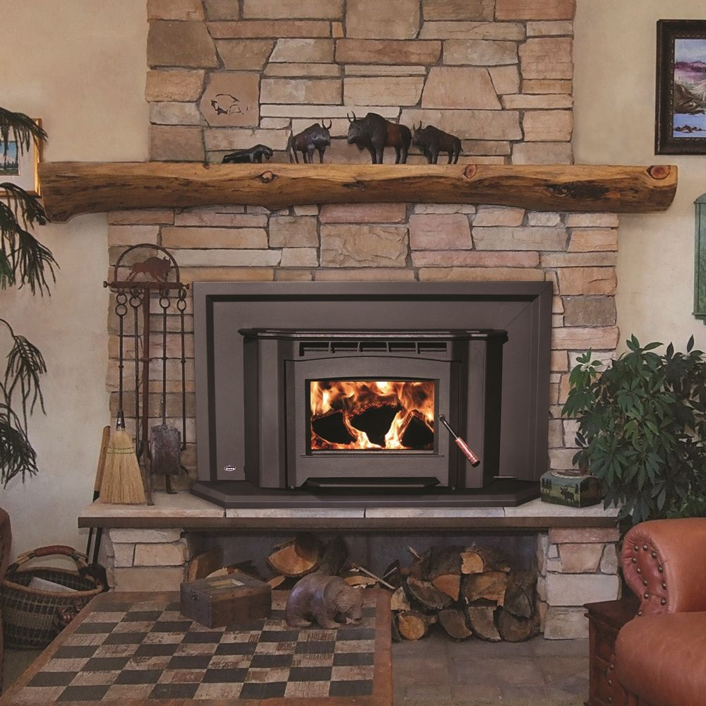 Interior Classic Wood Burning Fireplace Insert On Hardrock Wall Mixed With Checkered Rug