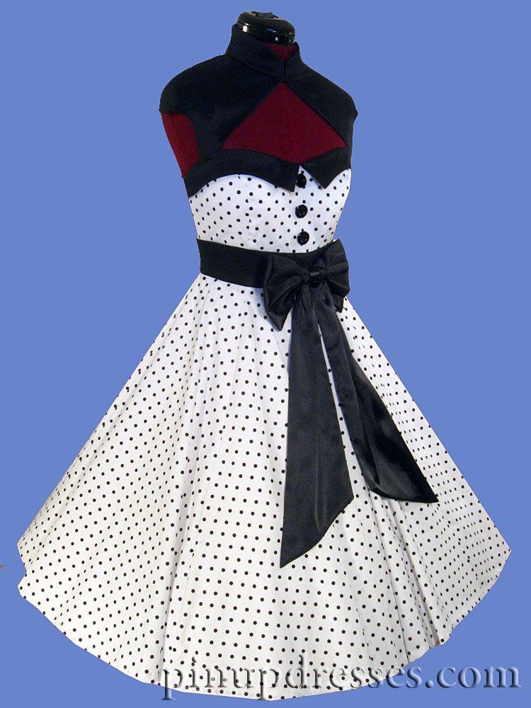 eddd7a95da2 New Pinup Polka Dot Retro Vintage Style Full Skirt Dress Black White