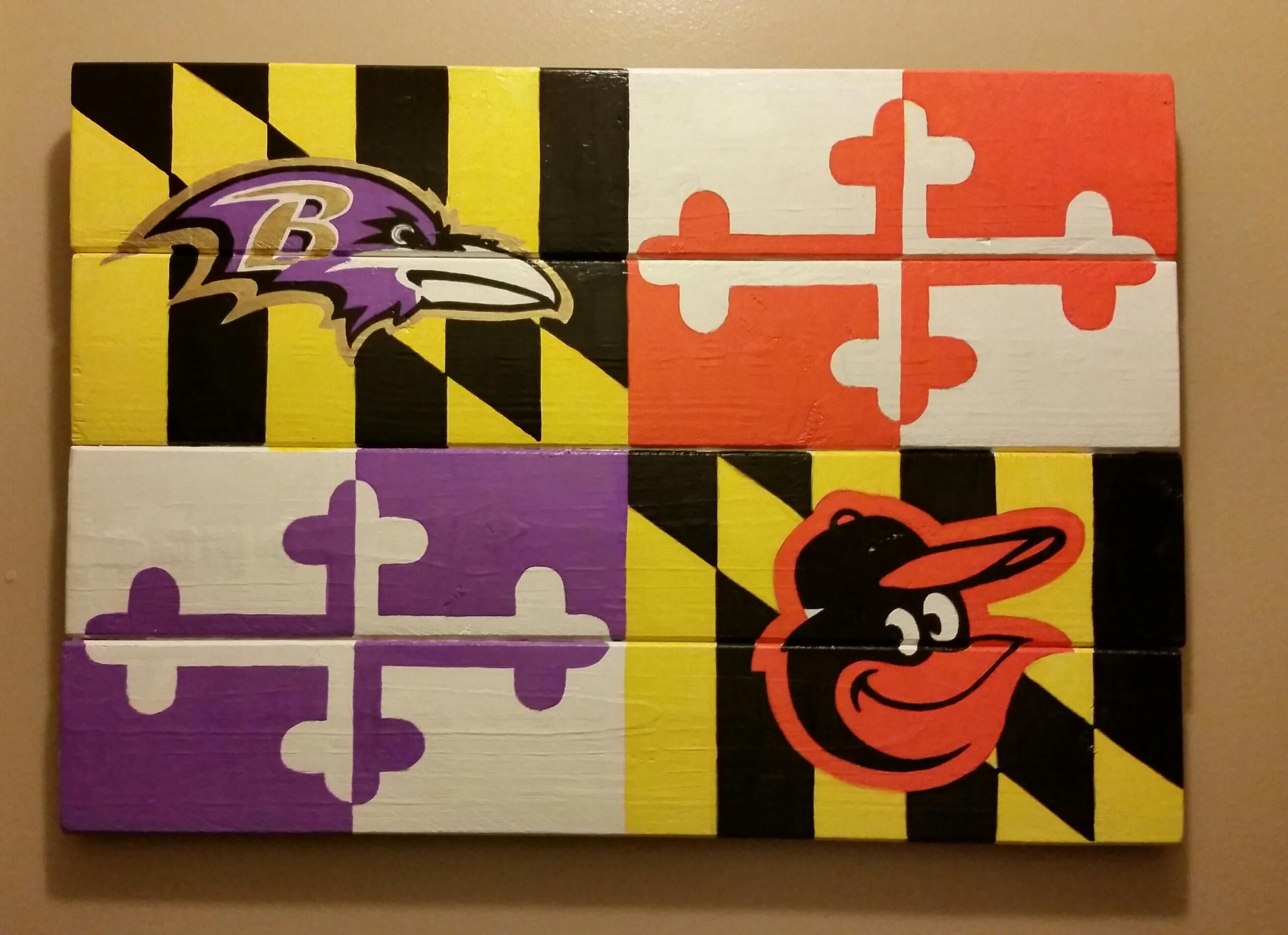 Baltimore Ravens Orioles Maryland Flag Sign Hand Painted Wood