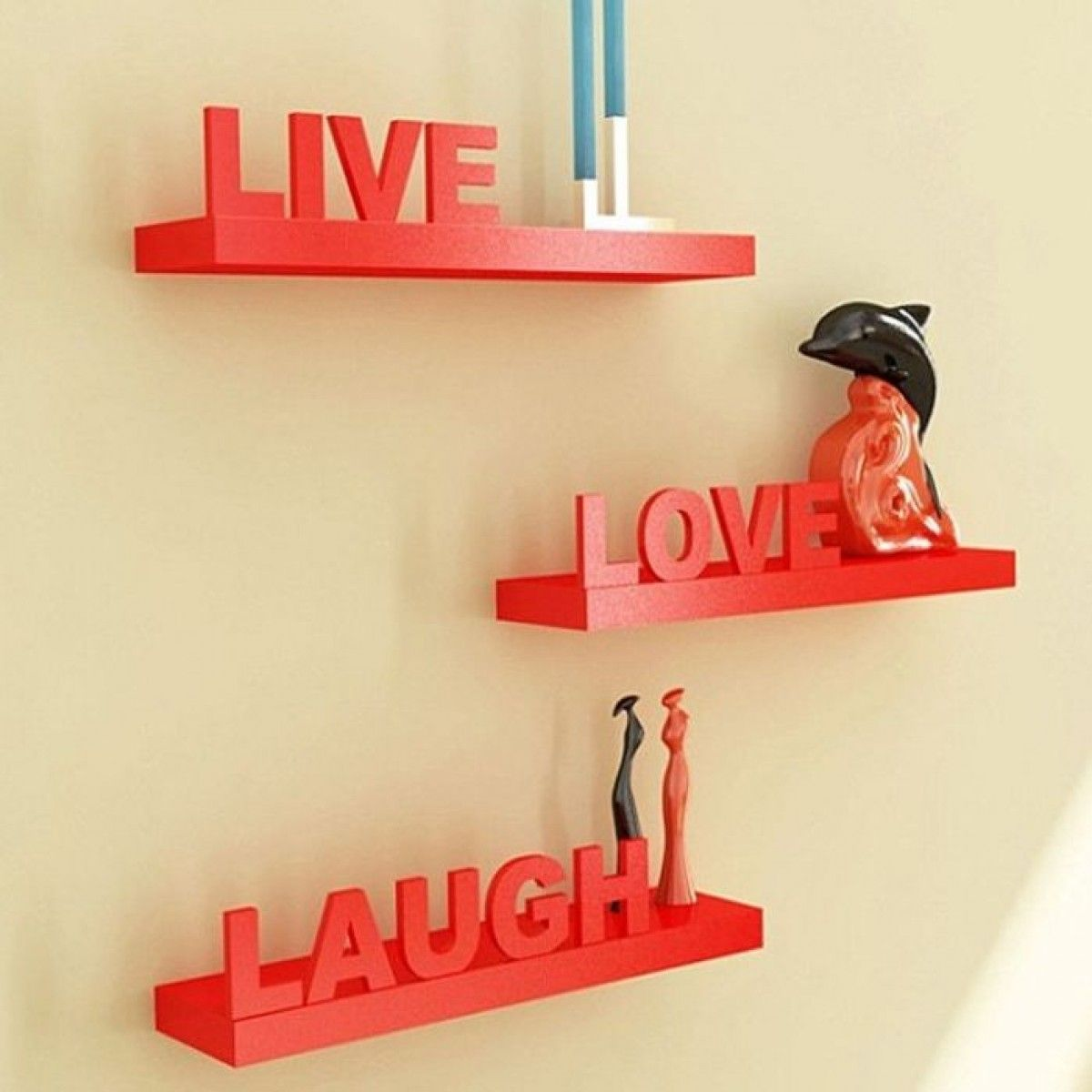 Onlineshoppee Beautiful Wooden Red Wall Shelves Live/Love/Laugh ...