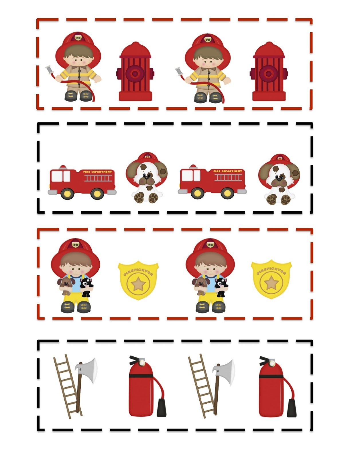 little firefighter pattern cards template jpg 1 236a 1 600 pixels