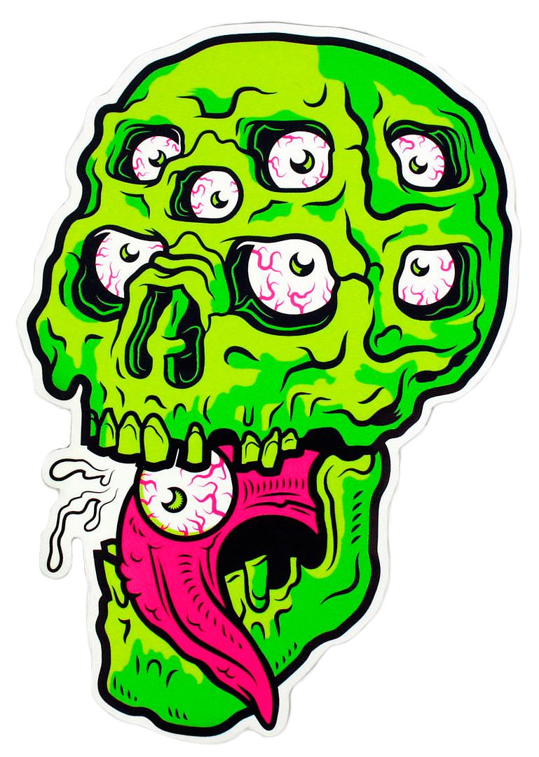 Dumb junk multi eyed skull sticker 3 00 dumbjunk sticker monster