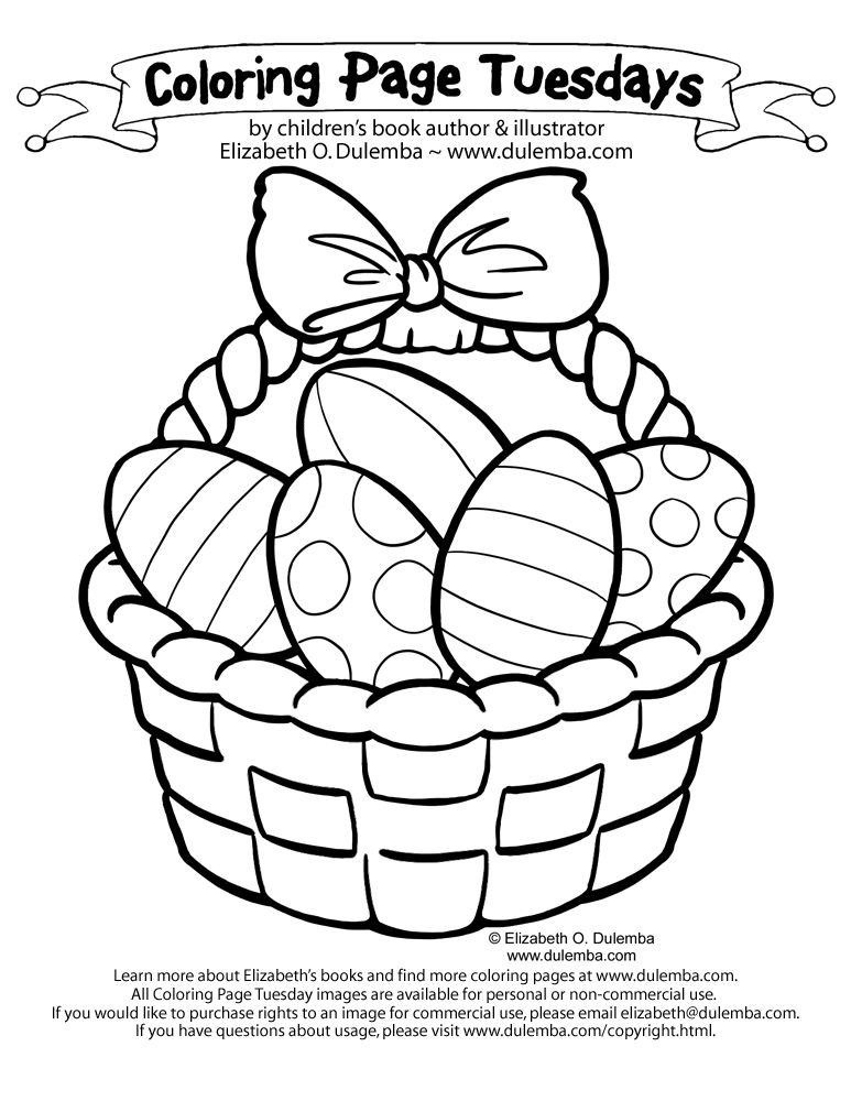 Easter Egg Basket Coloring Page Free Easter Coloring Pages