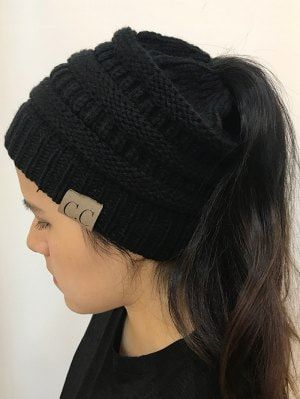 Mixcolor Open Top Knitted Hat - Black  bf942d0e59e