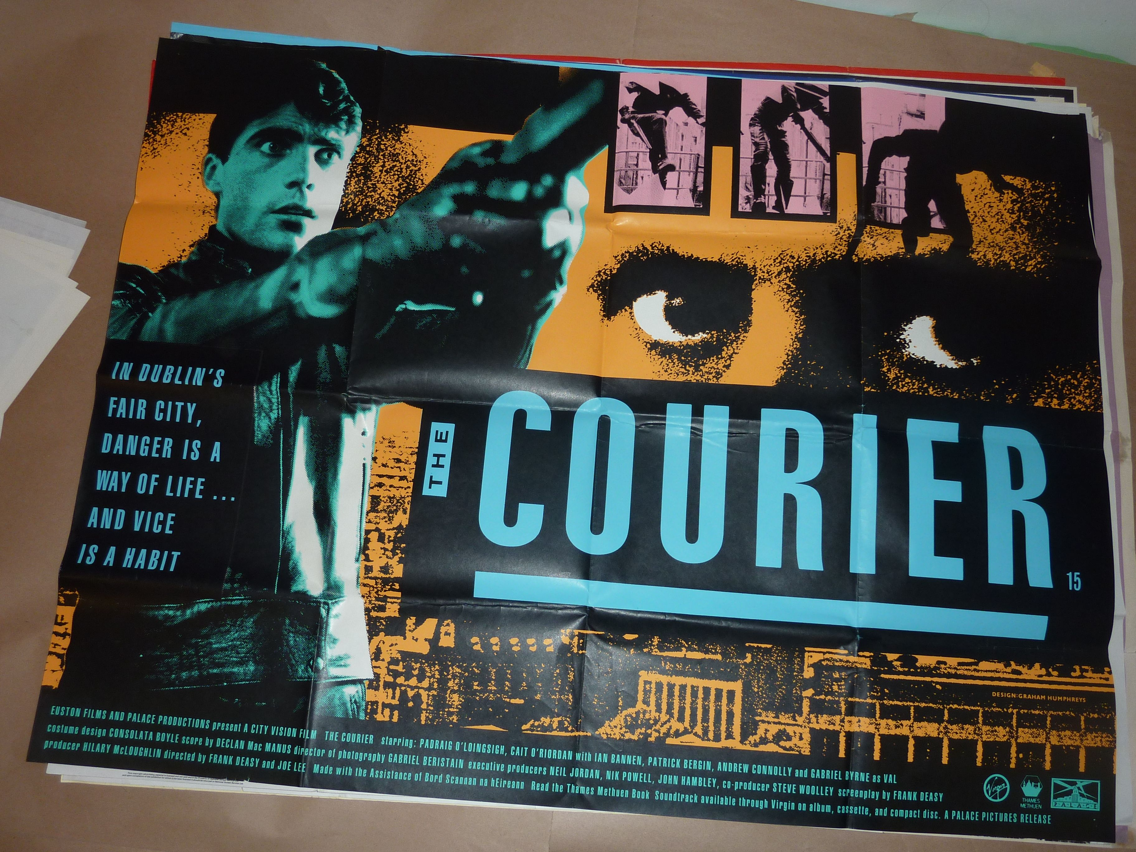 The Courier (1988) Uk Quad.  Directors: Frank Deasy, Joe Lee Stars: Padraig O'Loinsigh, Cait O'Riordan, Gabriel Byrne