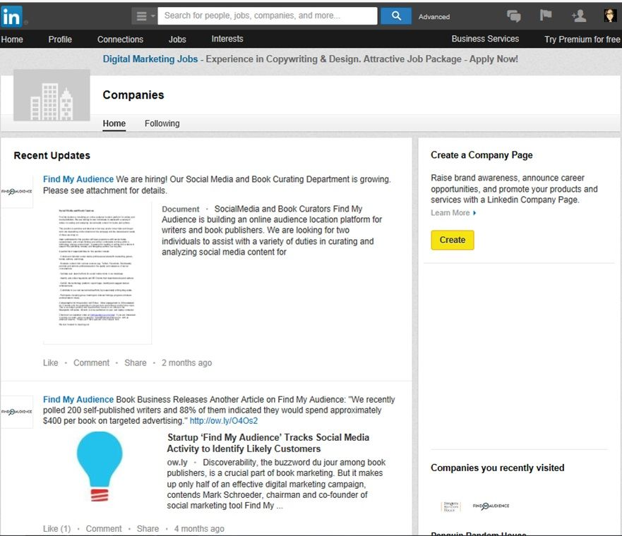 Online Book Marketing Tip: How Authors Are Under Utilising LinkedIn. LinkedIn Company Page