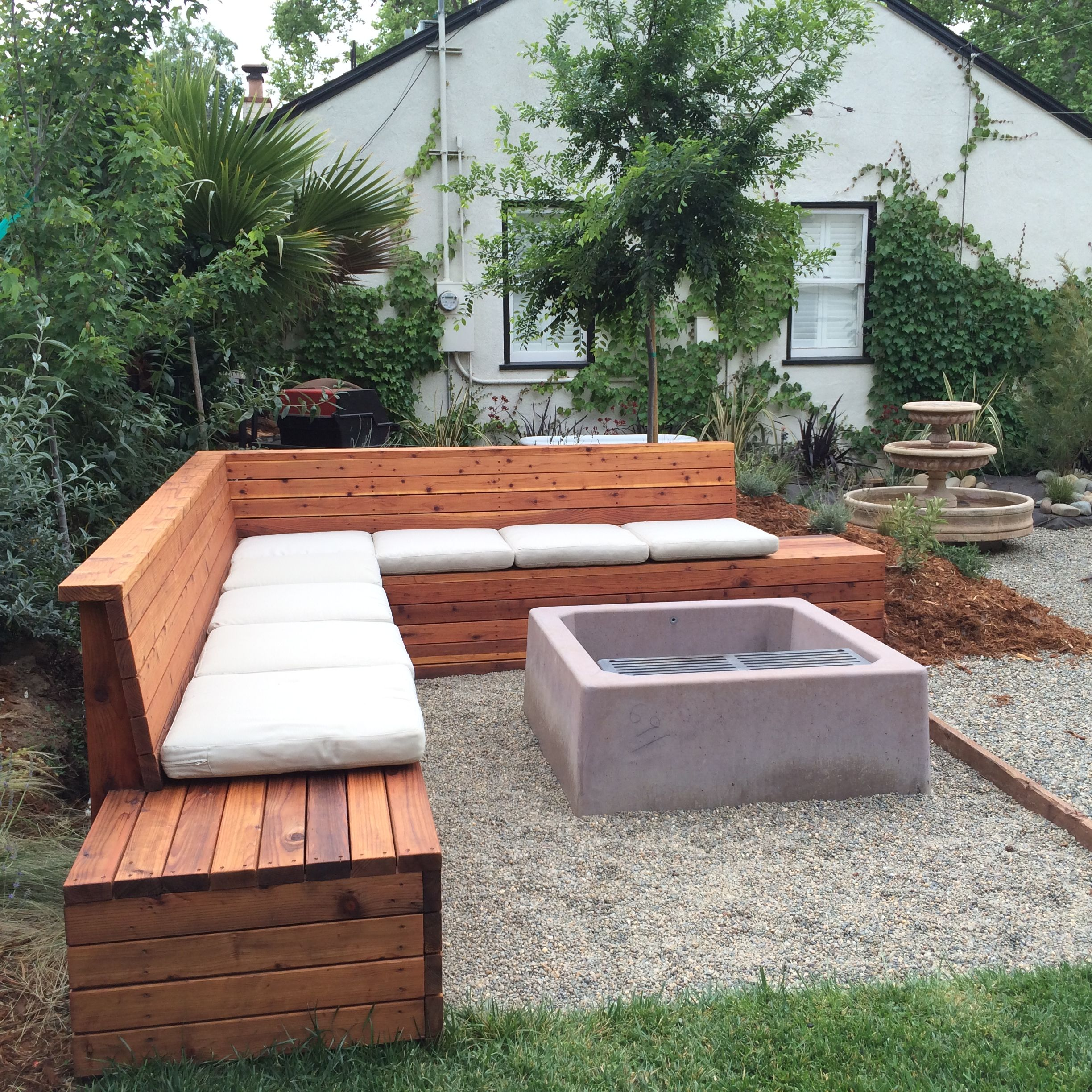 We sealed it then added cushions | Outdoor seating areas ... on Back Garden Seating Area Ideas  id=71199
