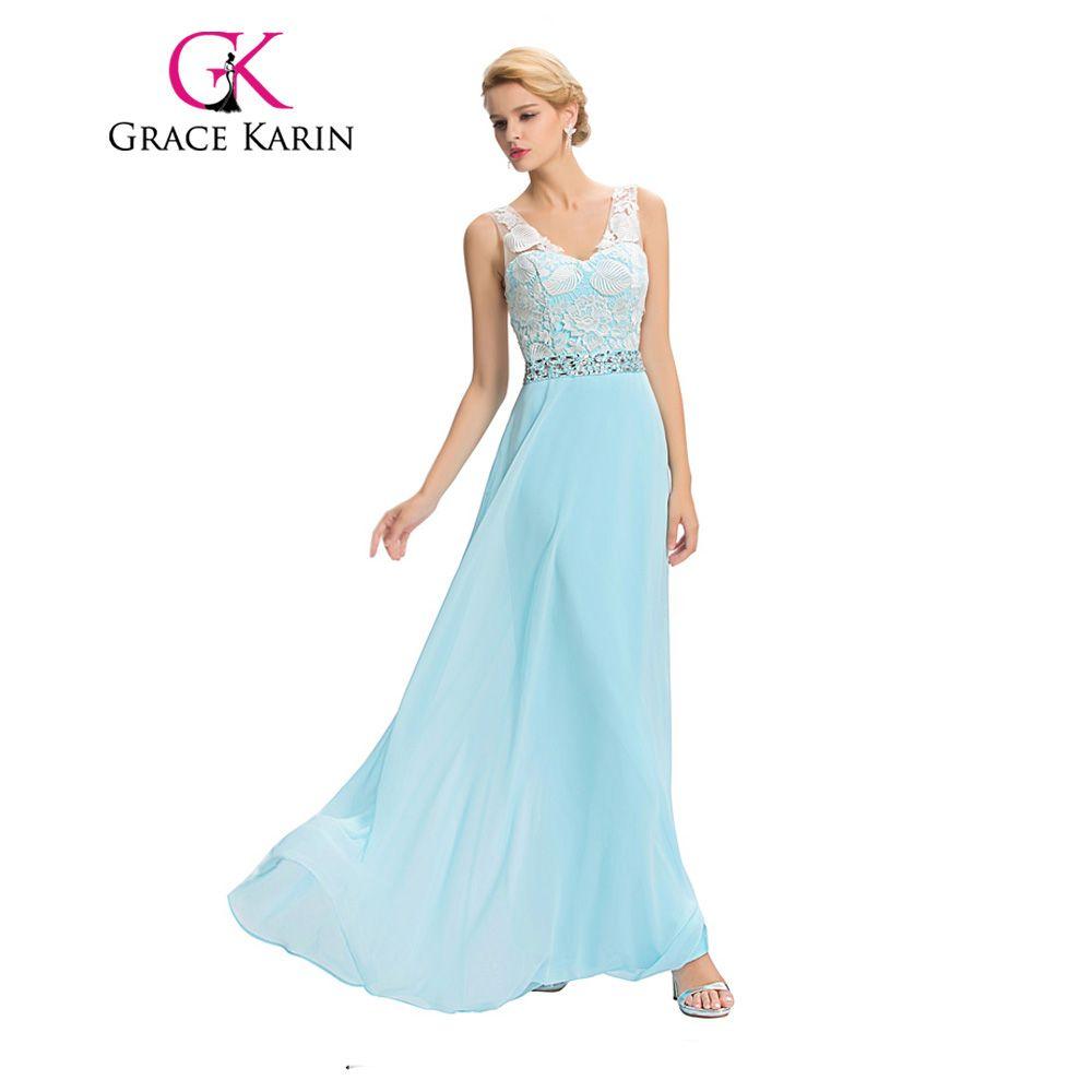 Grace karin long prom dresses sleeveless party gown light blue v