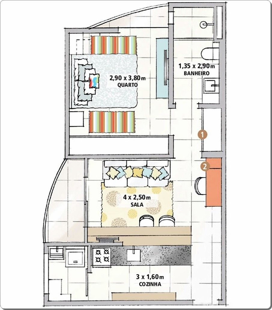 7 apartamentos pequenos decorados e otimizados loft for Apartamentos decorados pequenos