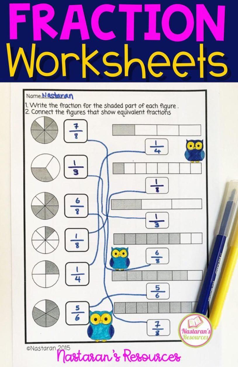 Fraction Worksheets For Grade 3  [ 1260 x 815 Pixel ]