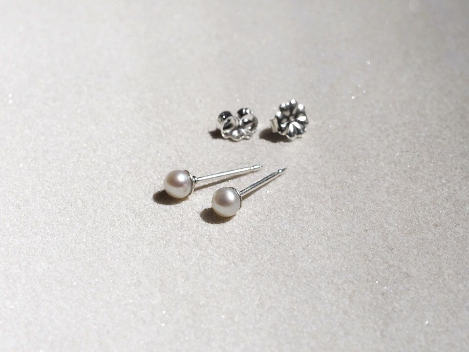 Tiny Pearl Stud Earrings Sterling Silver 2mm 3mm 3 5mm Clic White