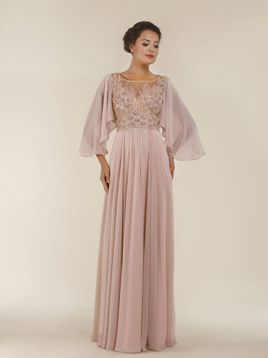 Beaded Lace Appliques Chiffon Illusion Neckline Long Mother of The Bride Dresses 99803020