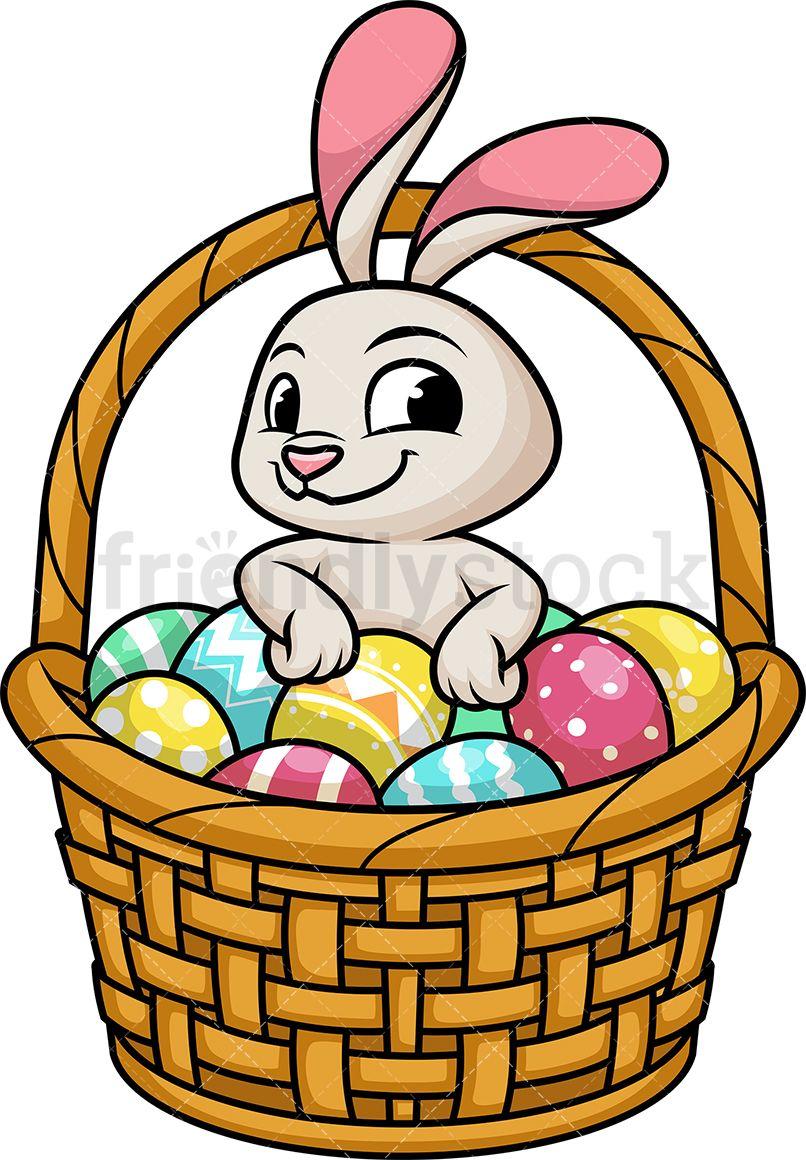 Cute Bunny In Basket With Easter Eggs Cartoon Clipart Vector Friendlystock Easter Egg Cartoon Cartoon Clip Art Cute Bunny
