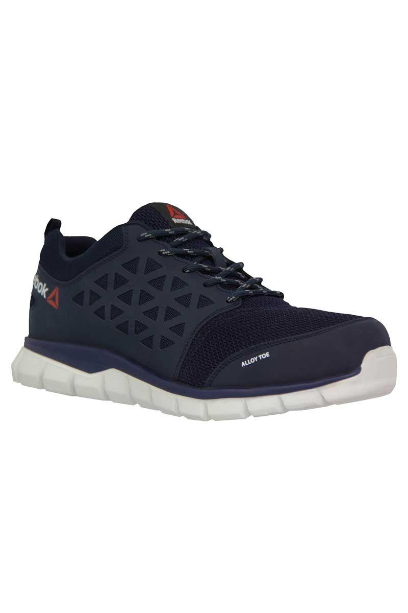 Calzado deportivo de seguridad azul de la marca Reebok. El
