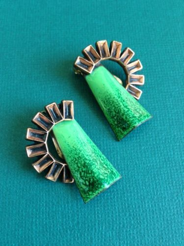 Matisse Earrings Enamel on Copper Signed Renoir Modernist