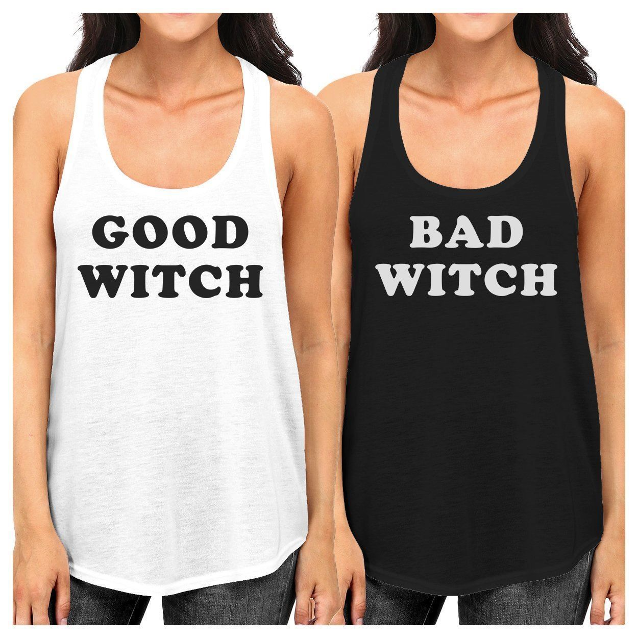 Good Witch Bad Witch BFF Matching White and Black Tank Tops