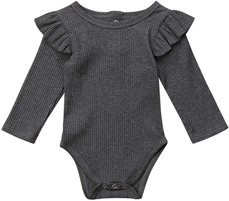 917179956 Amazon.com: Emmababy Newborn Baby Girl Romper Long Sleeve Ruffles Long  Sleeve Bodysuit Jumpsuit Outfit Winter Pajamas Clothes (6-12M, Grey):  Clothing