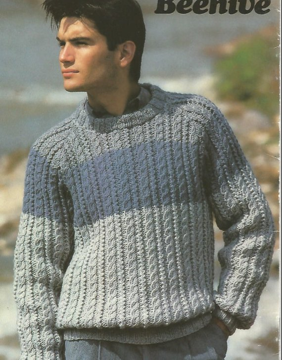 caa5ed6ce Mens Knit Shetland Sweater three contrasting colours or one colour version   OhhhMama size 36 to 44.