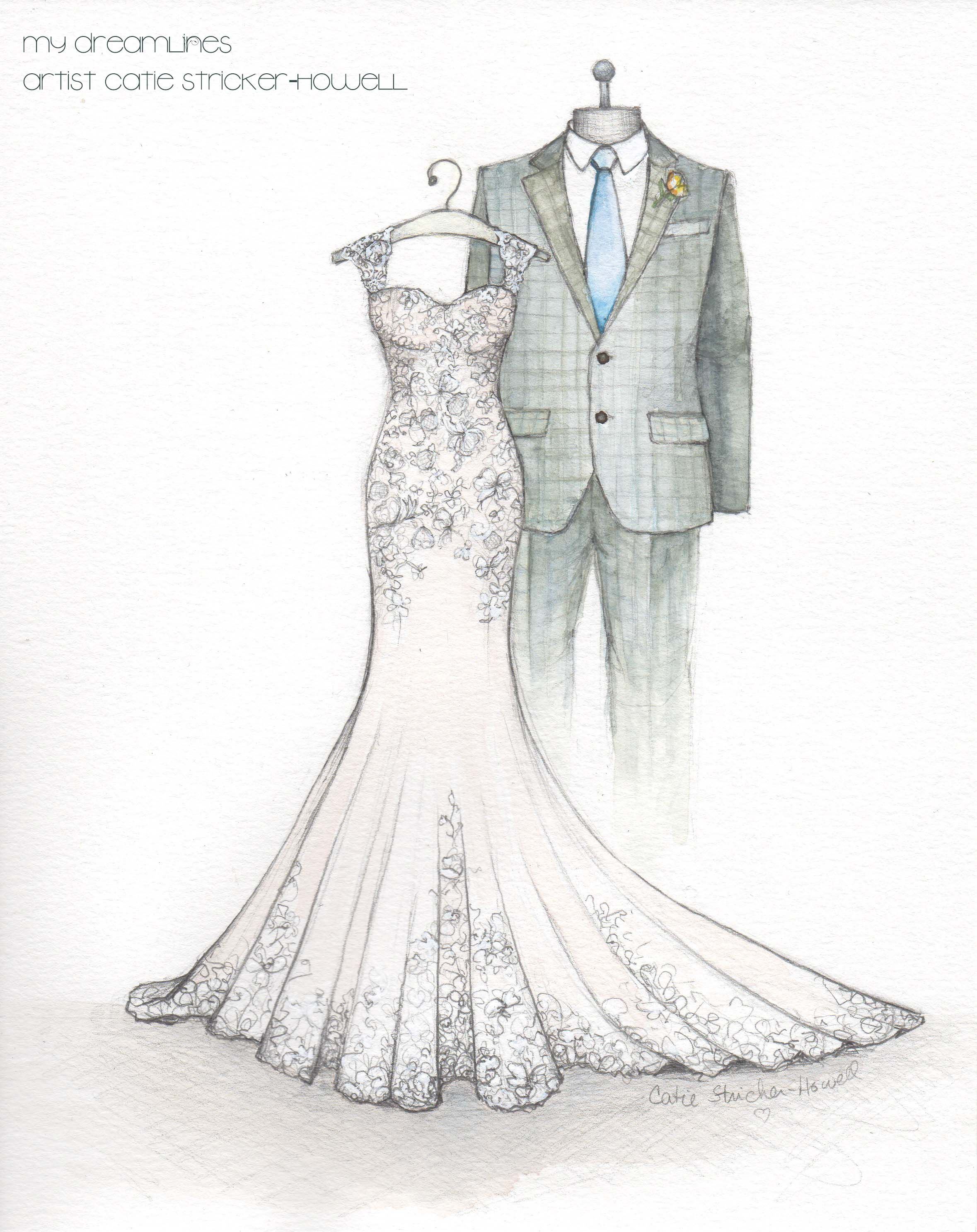 3a958e3622c Loved sketching this mermaid style wedding gown! A wedding dress  illustration is a great gift for your anniversary or wedding day.