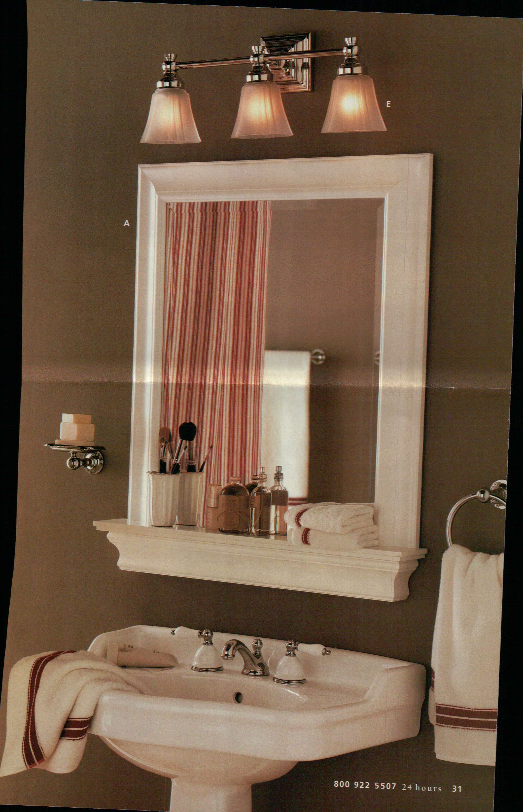 Framed Bathroom Mirror And Shelf But With A Hole In The