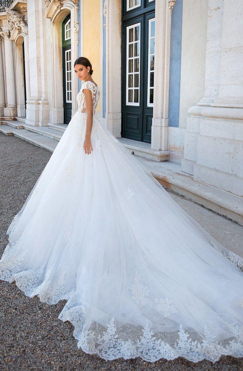 Short sleeves round neck heavy embellishment ball gown wedding dress  : Milla Nova wedding dress #weddingdress #weddinggown #wedding #bridedress