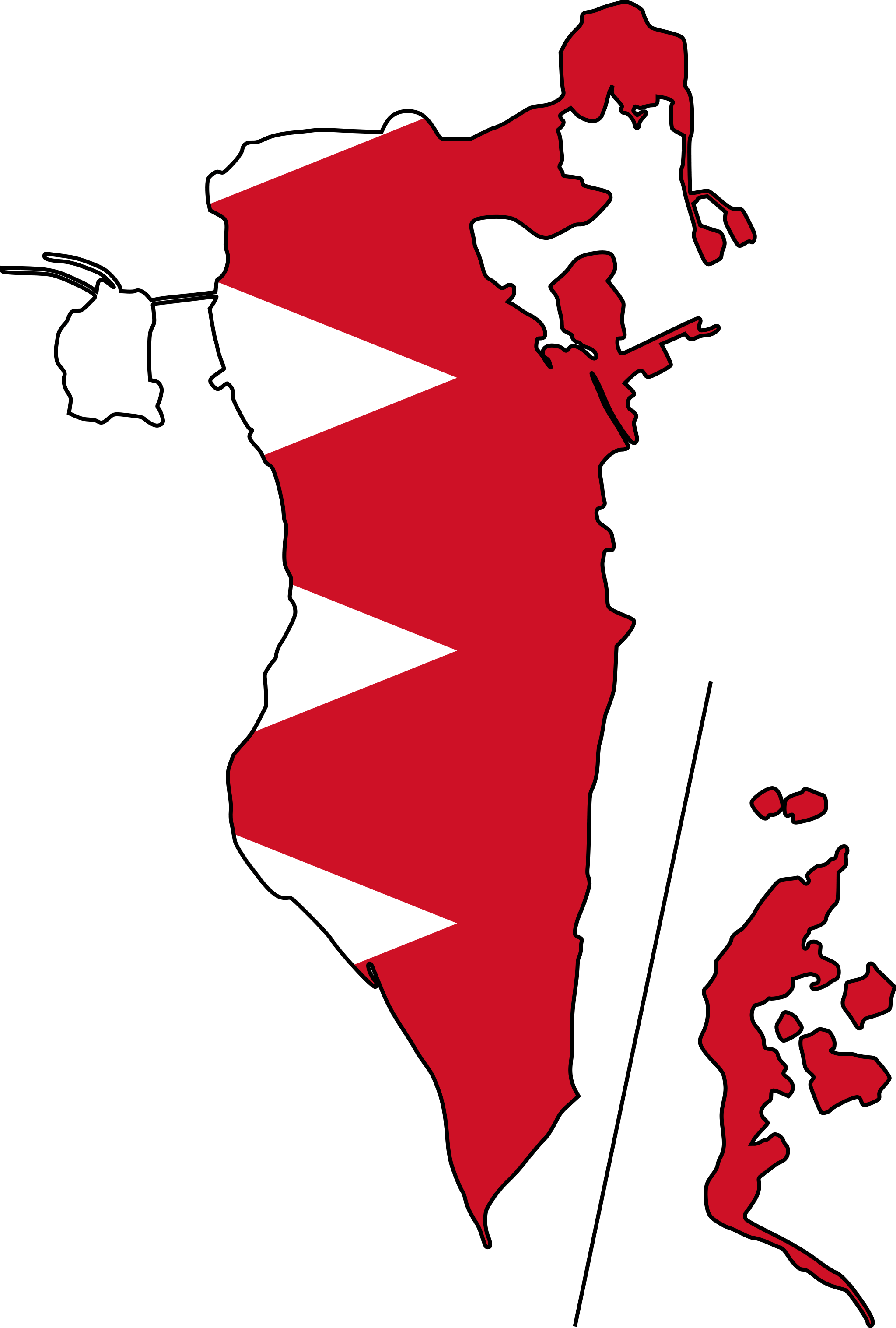 Bahrain Map With Flag