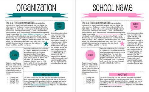High School Newsletter - Word Template \ Publisher Template - newsletter templates free word