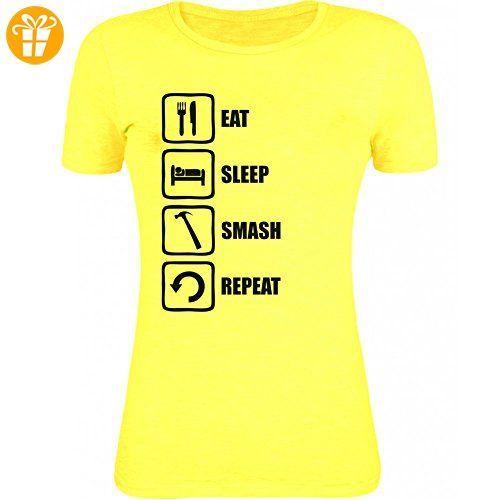 Eat Sleep Smash Repeat Funny Hammer Graphic Womens T-Shirt Medium (*Partner-Link)
