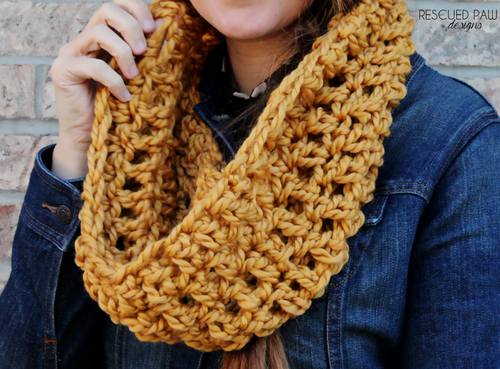 Over sized Mustard Crochet Scarf :: Rescued Paw Designs