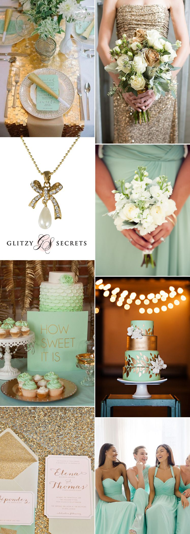 Wedding decoration ideas peach  Mint and Gold Wedding Ideas  Gold weddings Gold and Inspiration