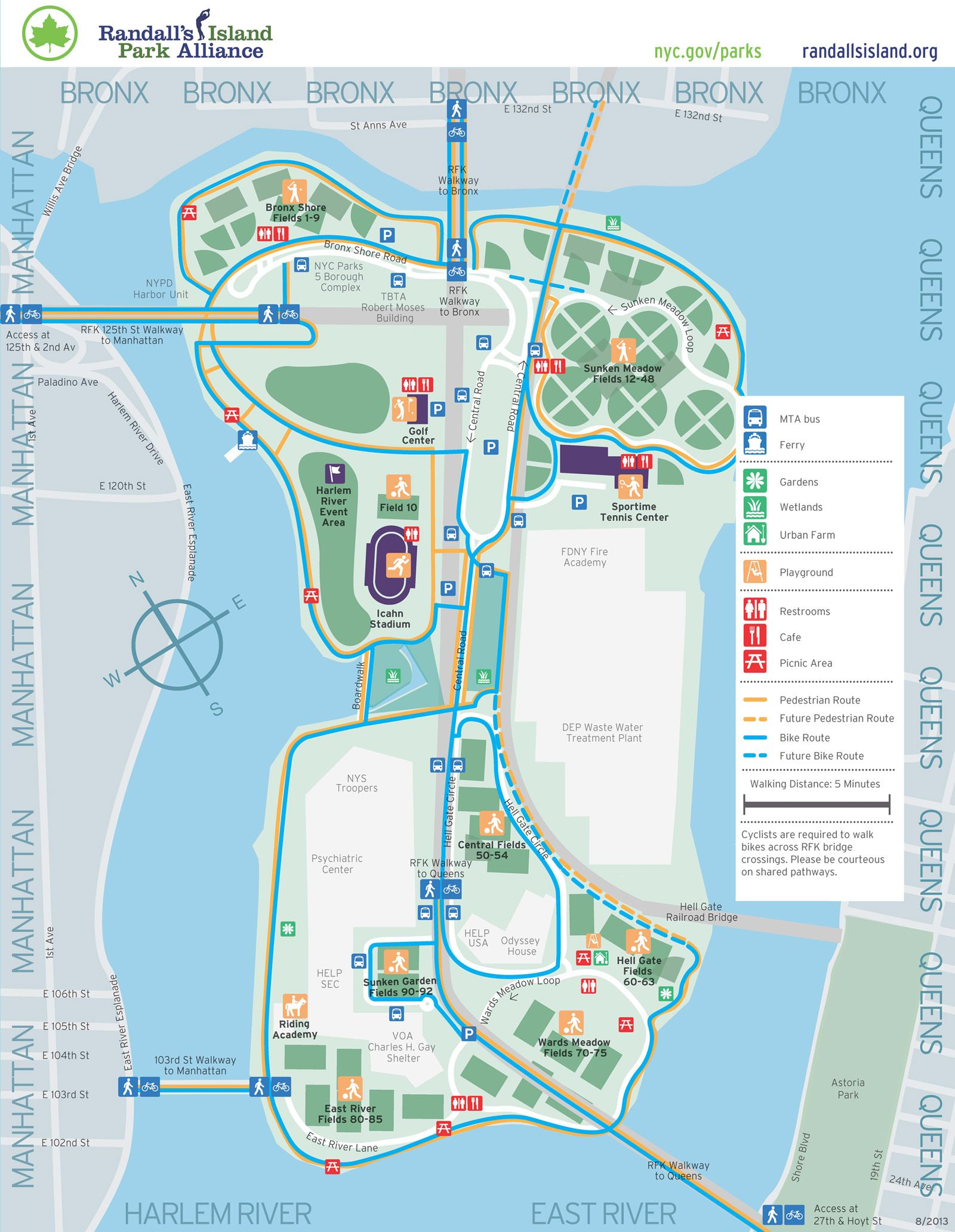 Randall's Island   El Barrio   Island park, Ny map, Park on