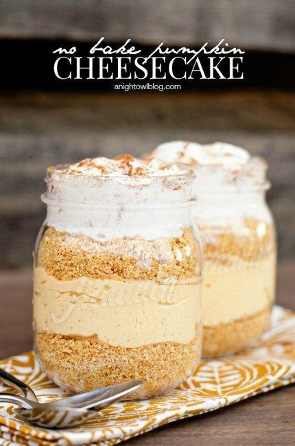 Easy Peach Cobbler in a Jar #peachcobblercheesecakeinajar No Bake Pumpkin Cheesecake | anightowlblog.com #peachcobblercheesecakeinajar