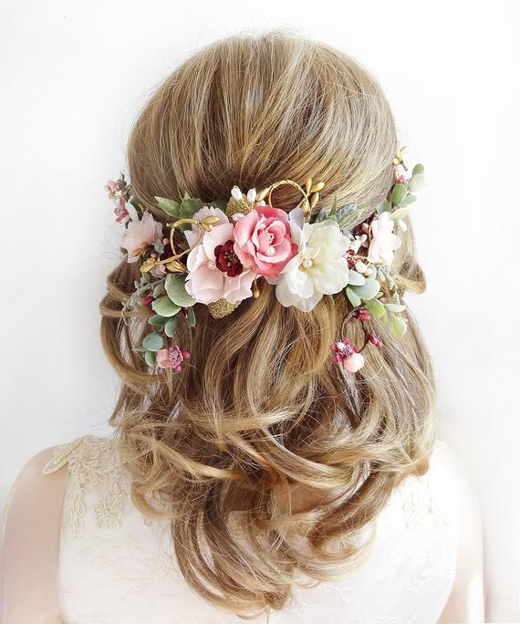 floral wedding hair piece, bridal headpiece flower, dusty rose hair flower, rose gold hair piece, floral wedding headpiece, eucalyptus hair