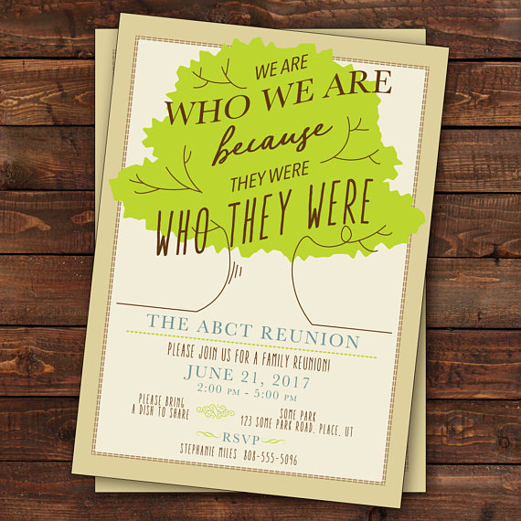 Family Reunion Invitation, Tree Family Reunion Invitation, Family