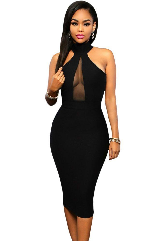 Dress Women\'s Ladies Black V- Plunge Mesh Insert Midi Cocktail Club ...