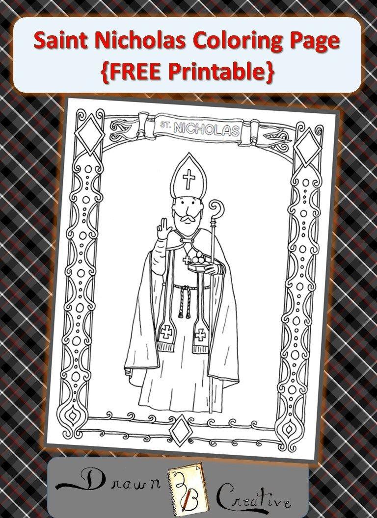 Free Saint Nicholas Coloring Page Drawn2bcreative Saint Nicholas St Nicholas Day Coloring Pages