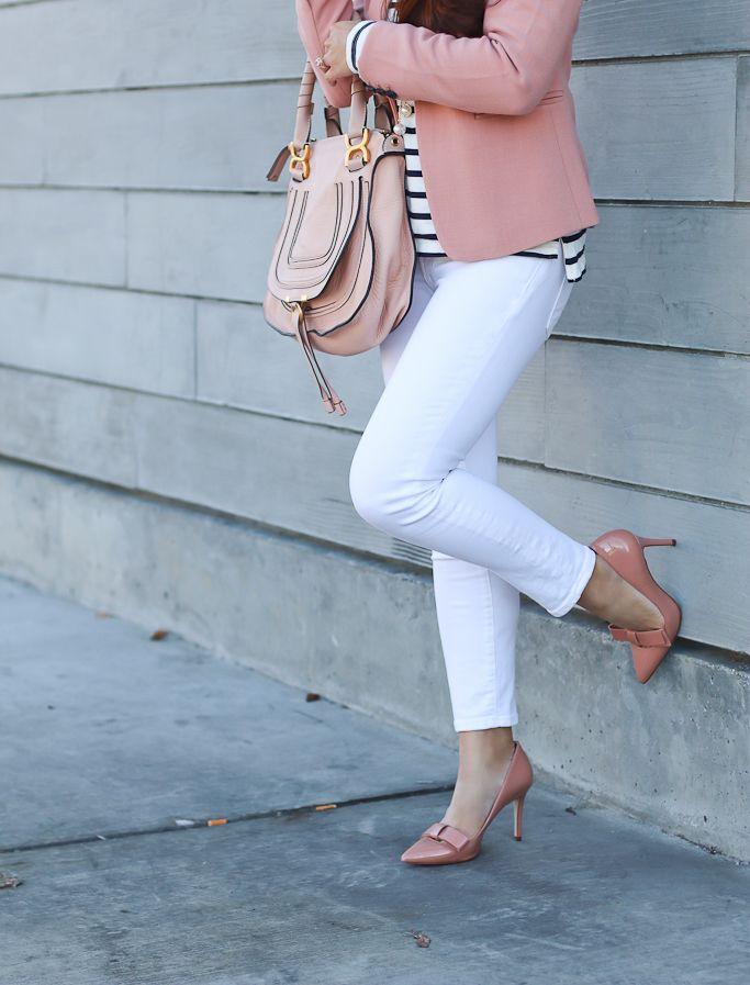 e36fa7dd934 Ann Taylor Single Button Blazer Vintage Petal Odette Bow Pumps