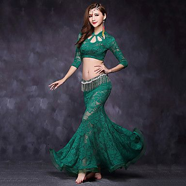 f66a401a1ab9 69.99  Belly Dance Outfits Women s Performance Lace Lace Half Sleeve ...