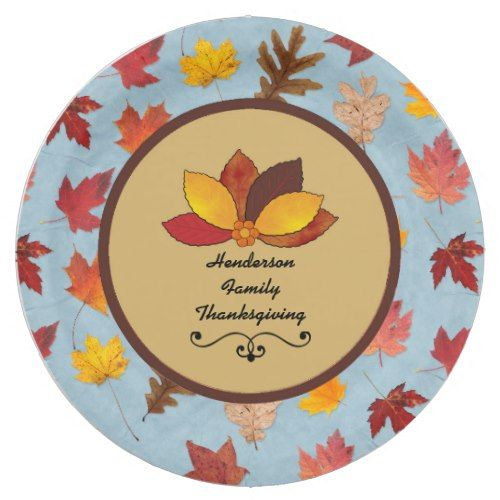 Autumn Leaves on Blue Paper Plates  sc 1 st  Pinterest & Autumn Leaves on Blue Paper Plates | Thanksgiving Dinner Ideas ...