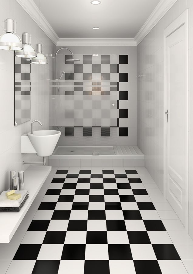gres red body floor tiles: monocolor black and white chess pattern ... - Carrelage Damier Noir Et Blanc Salle De Bain