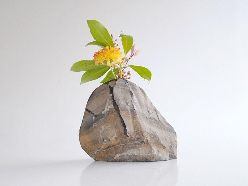 Raw Stone Vase, Elegant Rock Vase, Shale Rock Vase, Flower Rock Vase, Modern Polished Rock Vase, Hand Carved Bud Vase, Small Eco Rock Vase by Sevenstone on Etsy https://www.etsy.com/listing/210896324/raw-stone-vase-elegant-rock-vase-shale