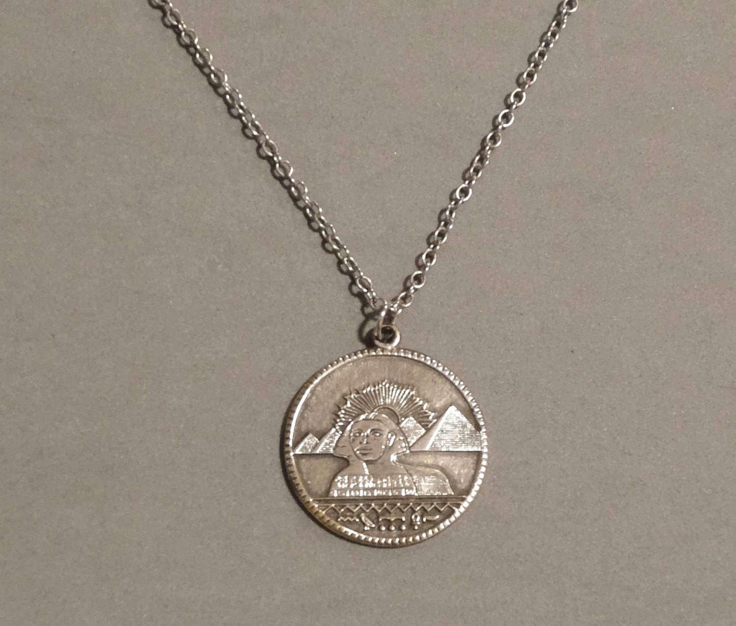 Vintage egyptian necklace coin pendant sterling silver king tut vintage egyptian necklace coin pendant sterling silver king tut ancient egypt symbols pyramids art deco jewelry aloadofball Gallery