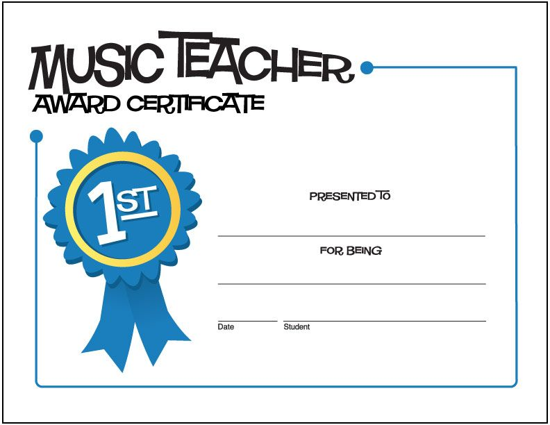 Music Teacher Award Certificate Free Printable Music Award